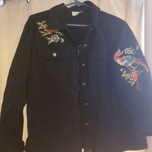 Jackets & Blazers - Cute embroidered Black denim jacket